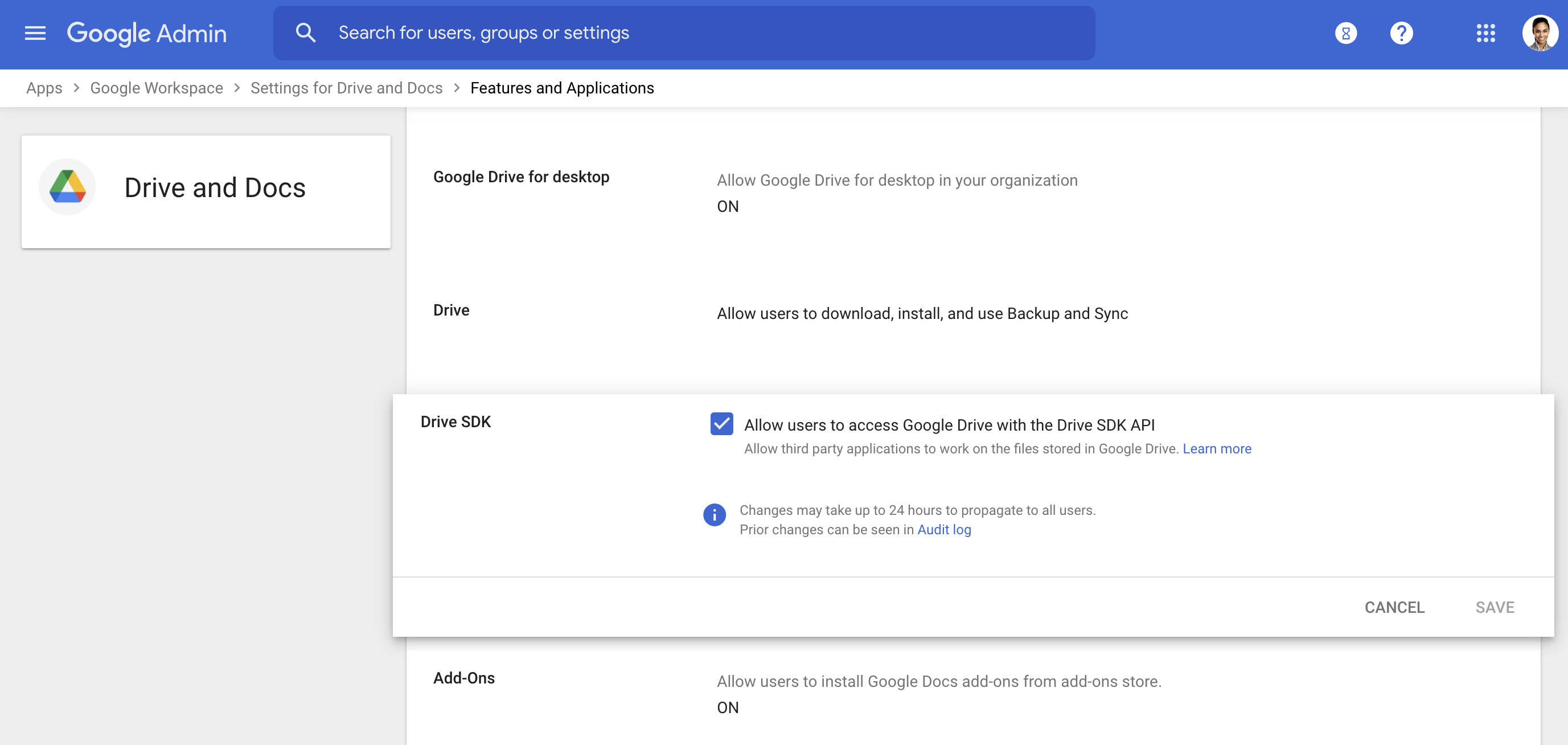 Check the box to allow users to access Google Drive with the Drive SDK API