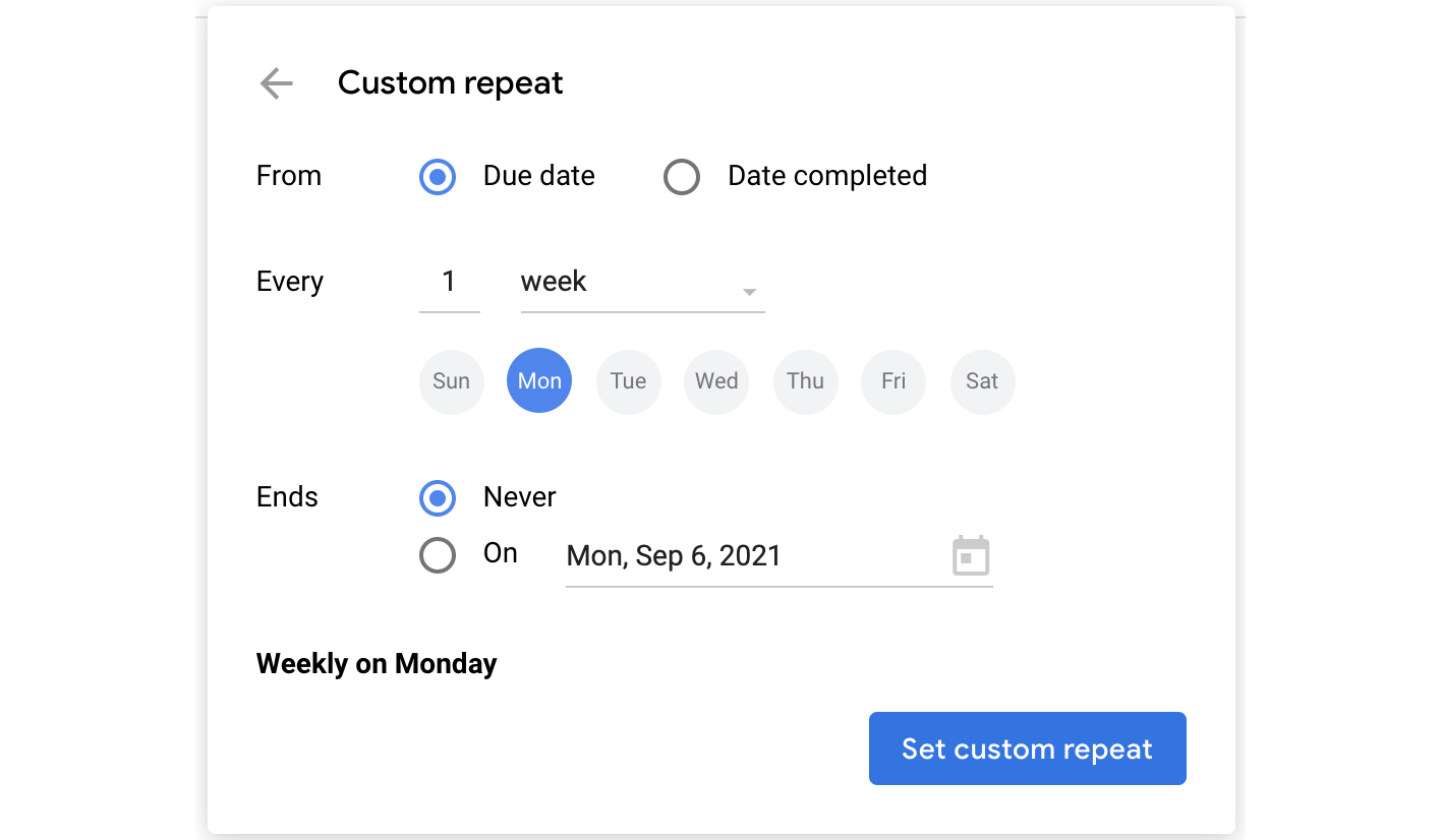 Set up a custom repeat pattern for your task.