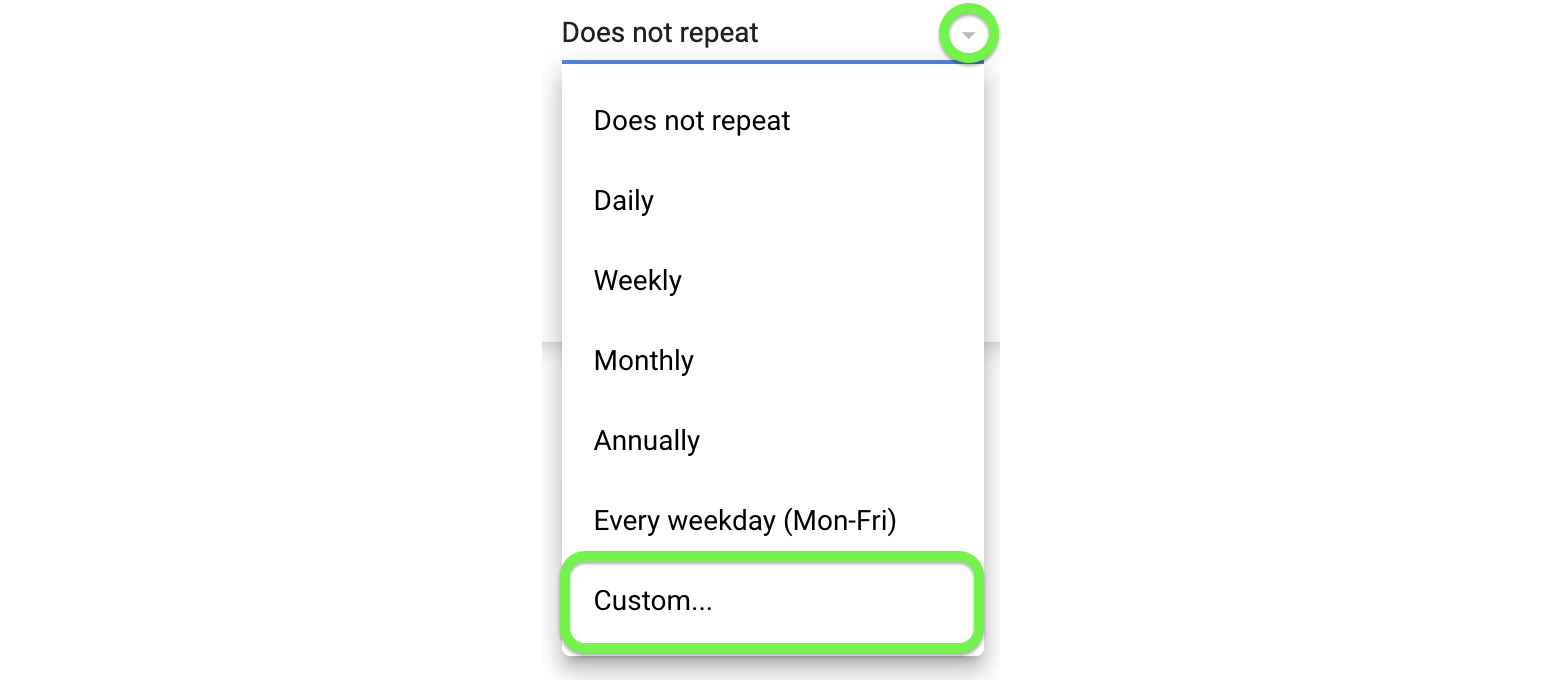 Open the dropdown menu to set up a custom repeat pattern.