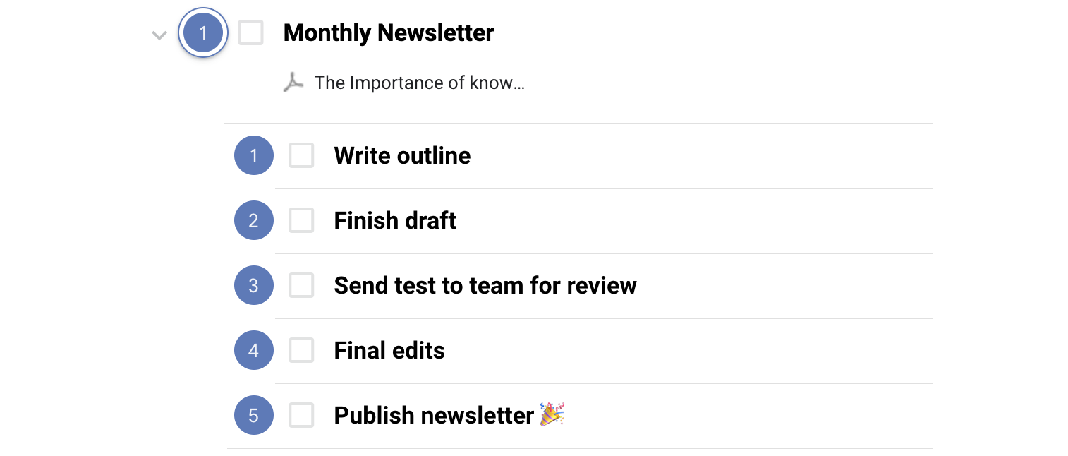 Use subtasks for projects that regularly occur.
