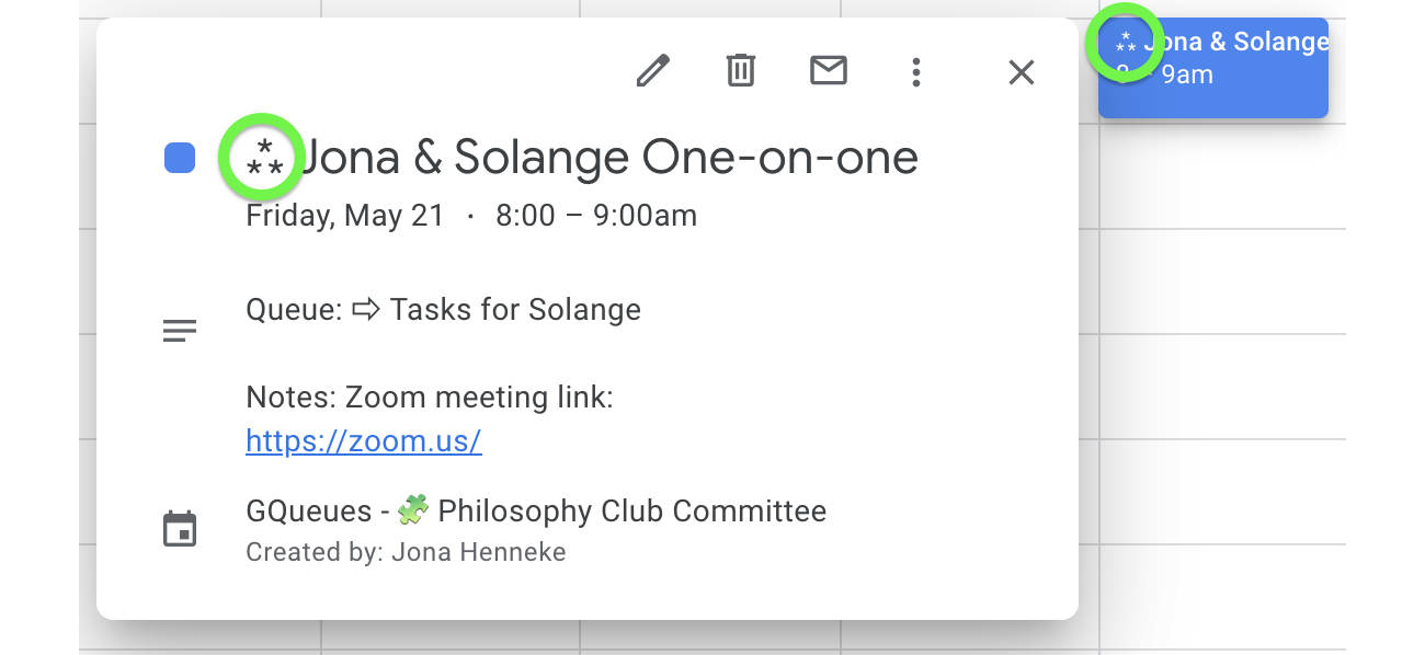 Repeating tasks have a special symbol in Google Calendar.