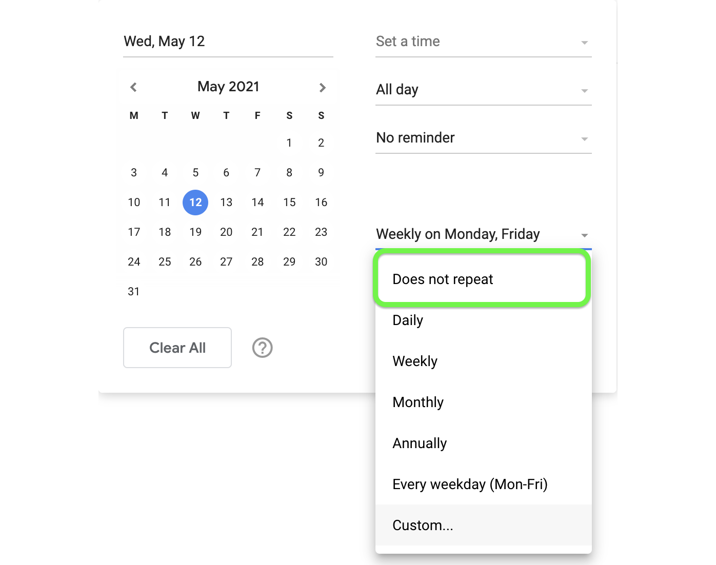 Turn off repeating tasks from the drop down menu.