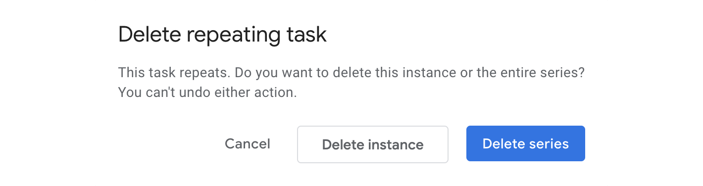 Choose to delete the instance or the whole series.