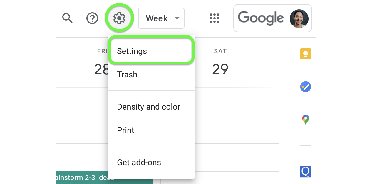 Confirm the correct time zone from settings by clicking the gear menu in Google Calendar.