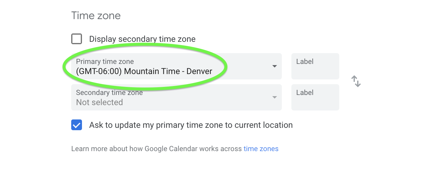 Set the correct primary time zone.