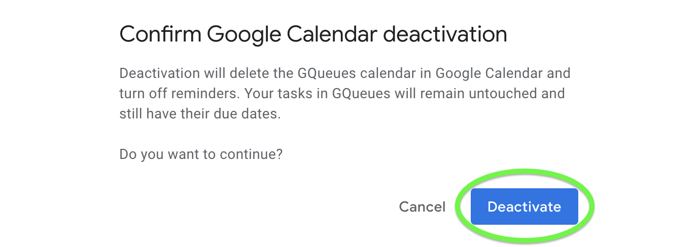 Confirm Calendar syncing is deactivated.