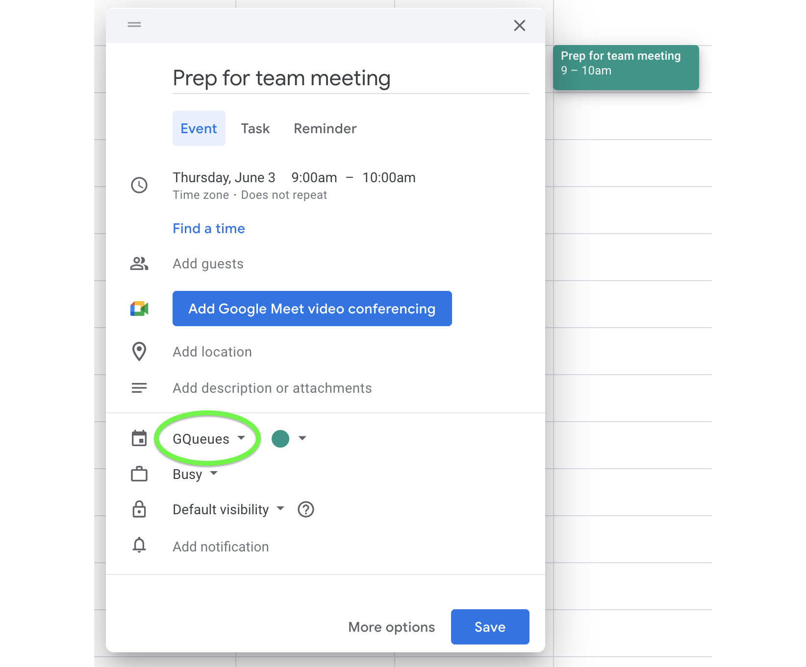 Create a task from Google Calendar by adding it to your GQueues calendar.