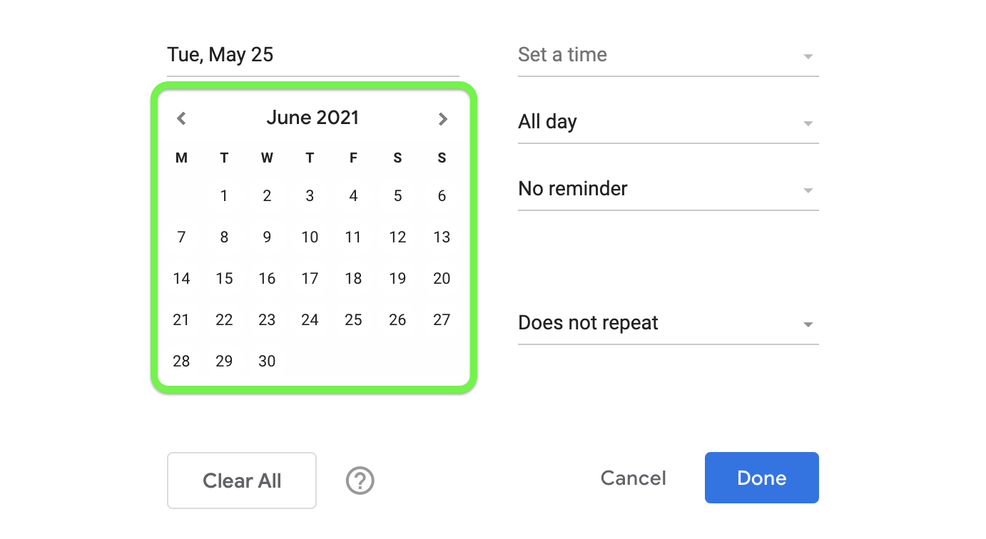See your changes take place when setting a due date for a task.