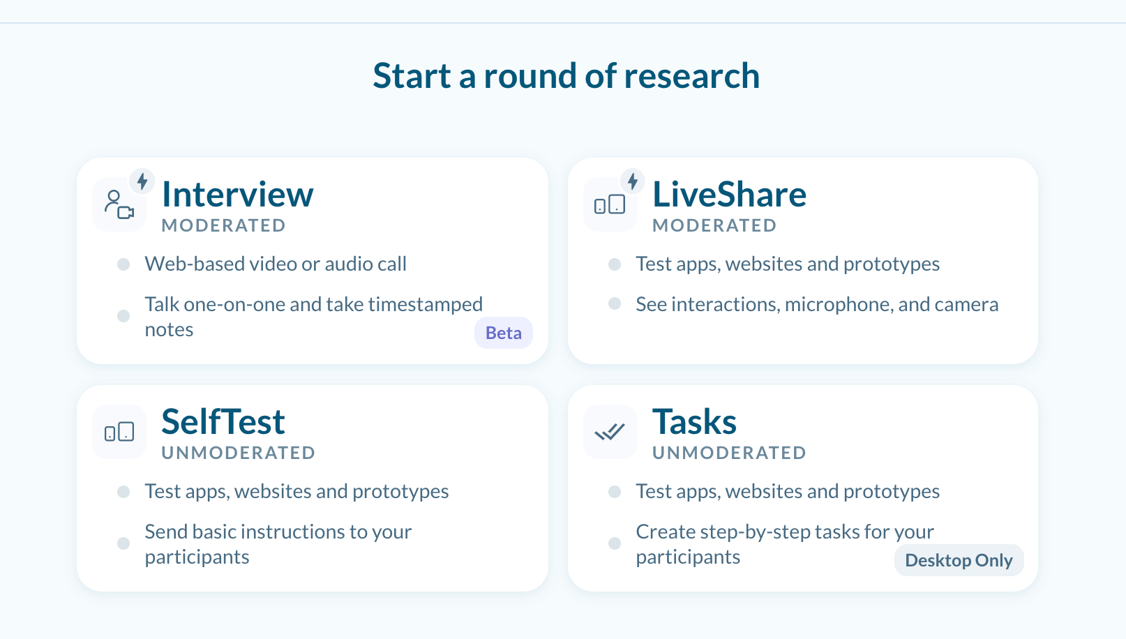 Choose a Round Type : Interview, LiveShare, SelfTest, Tasks for Desktop