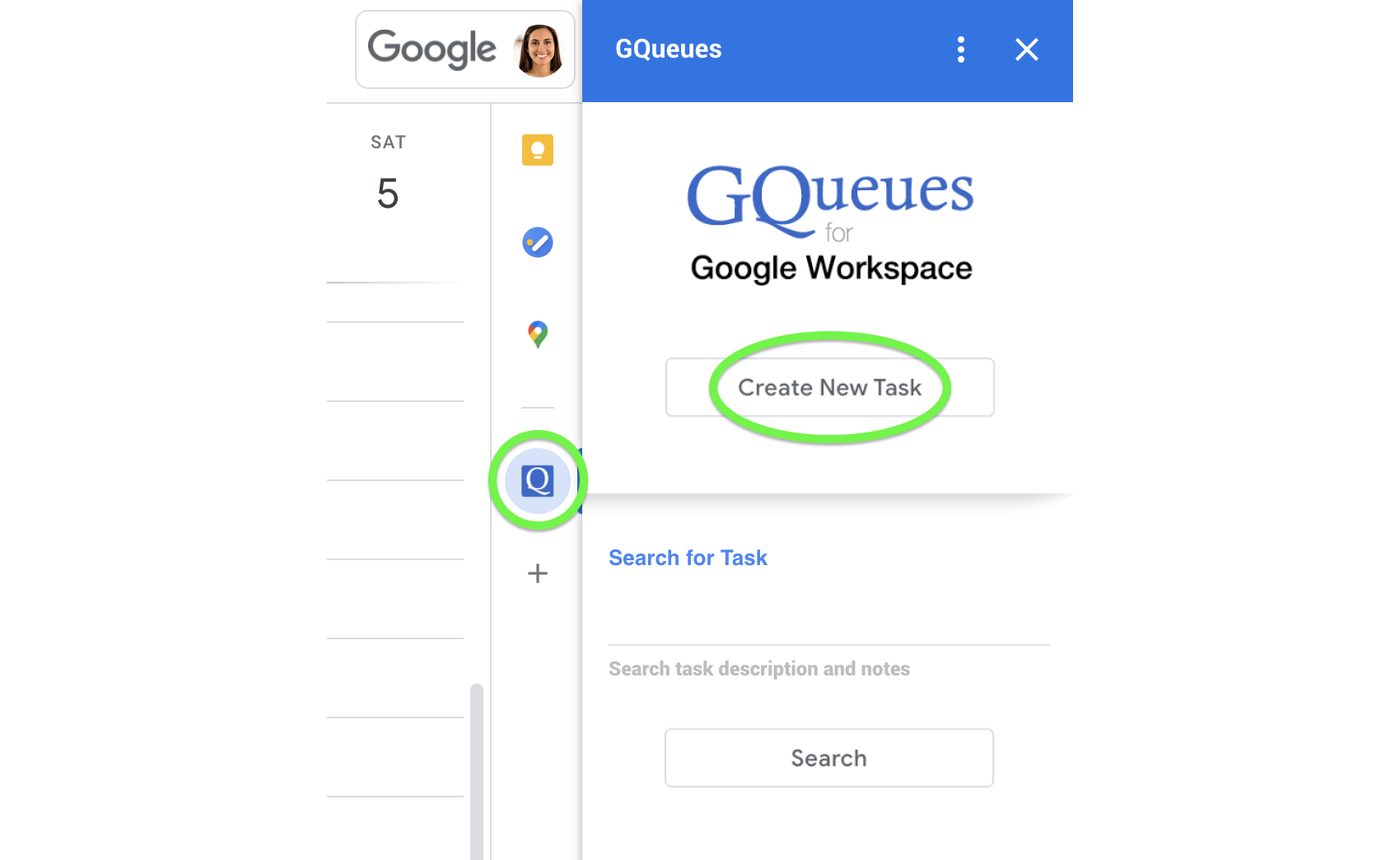 Create a new task with the Google Workspace Add-on.