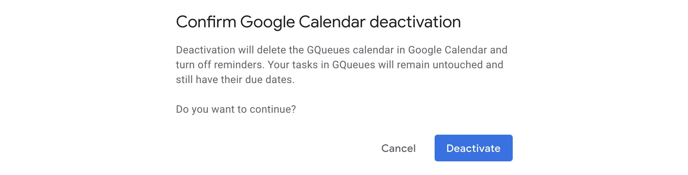 Confirm you want to continue with deactivating calendar syncing