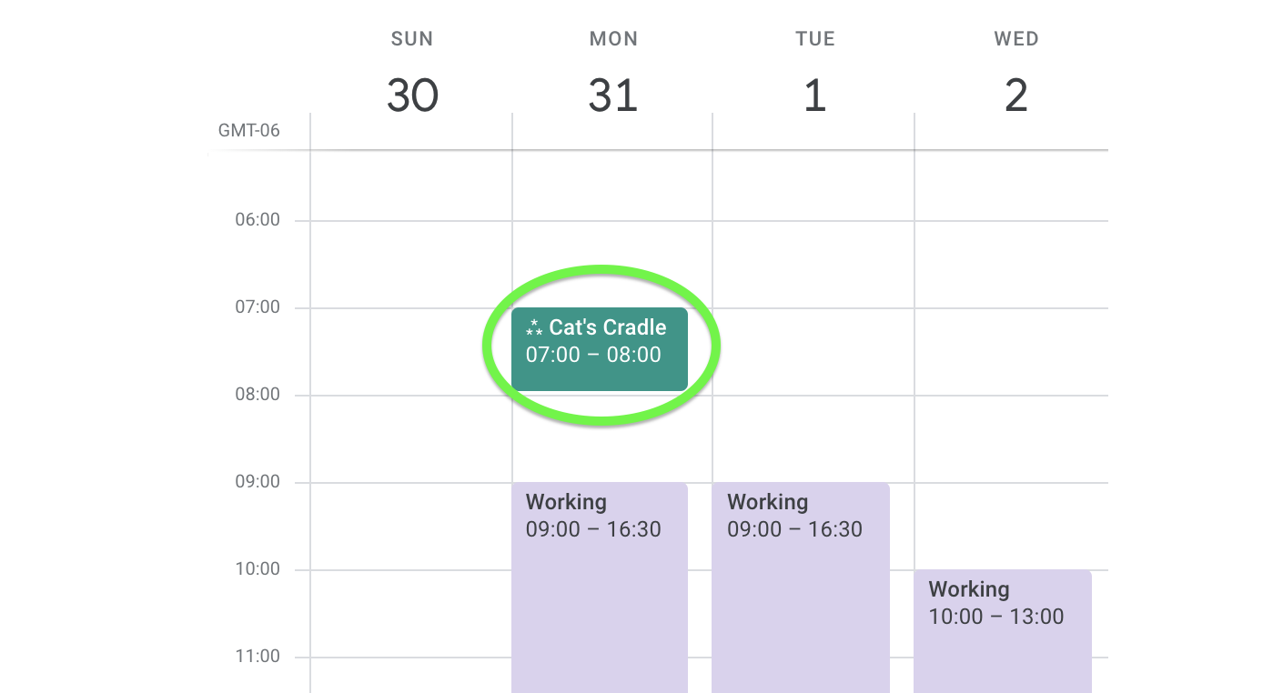 Google Calendar only displays the very next occurrence of a recurring event.