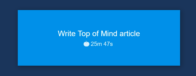 Remaining timer time in Top of Mind external window