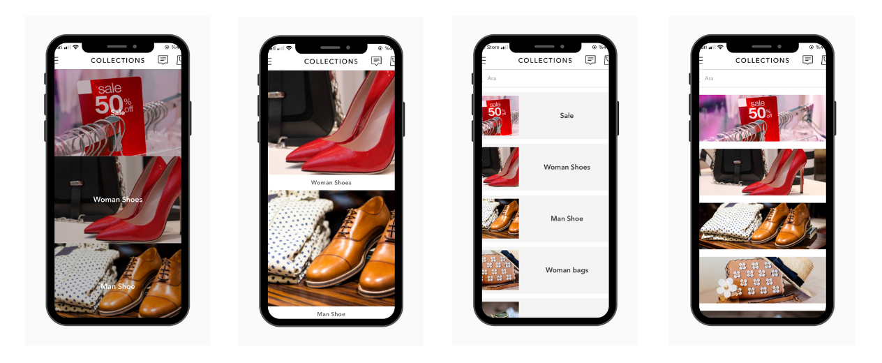 category display types at Shopney mobile app builder