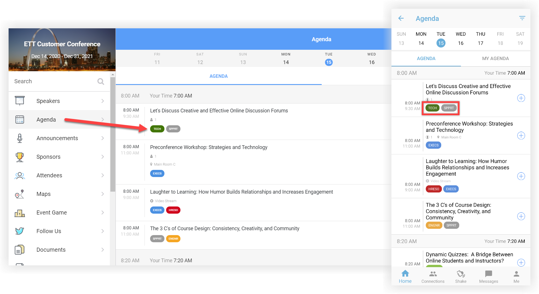 Two screenshots of an agenda on the web app and mobile app. The track bubbles are indicated.