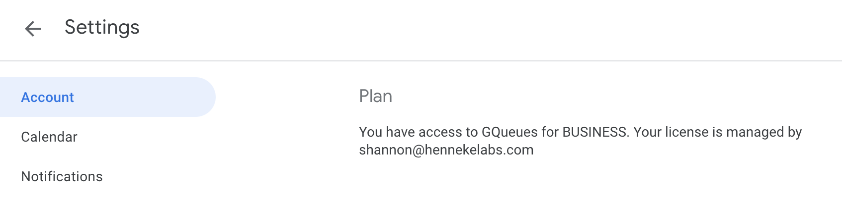 Account tab of GQueues Settings with GQueues for BUSINESS Plan information