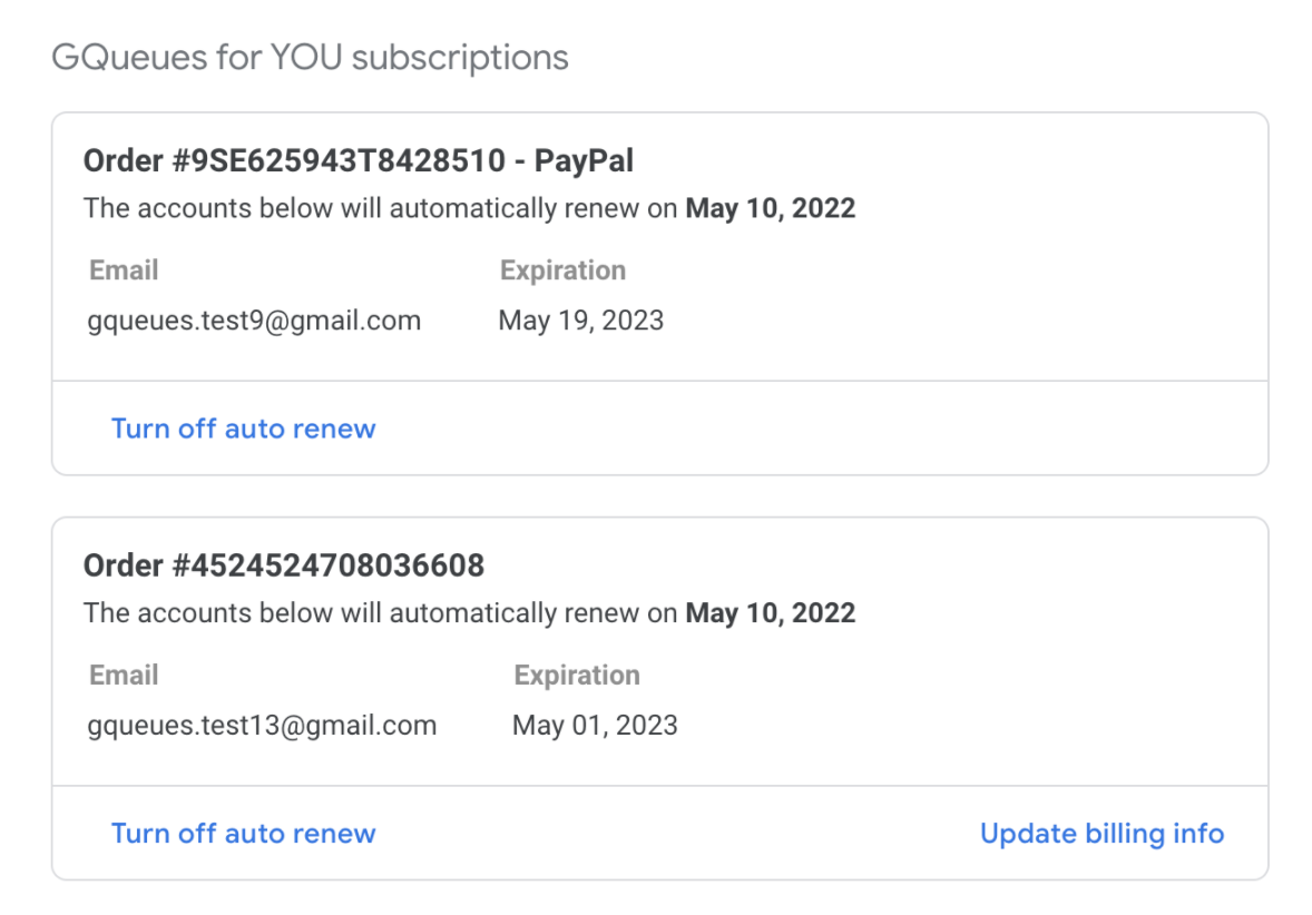 Two GQueues for YOU subscriptions with renewal information