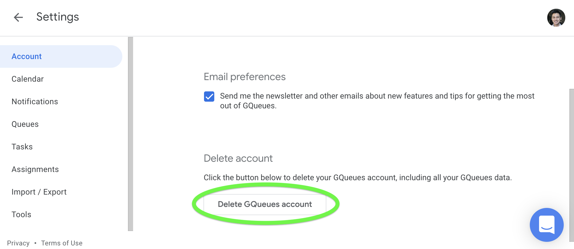 Button to Delete GQueues account circled in GQueues settings
