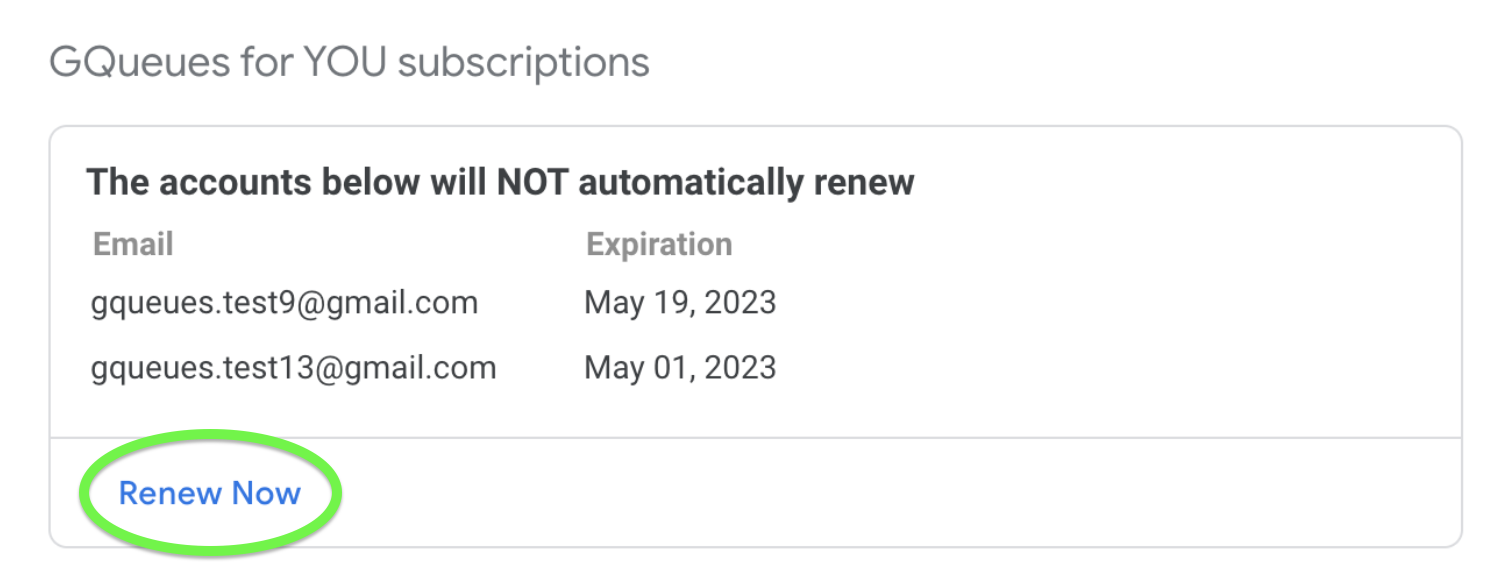 Link to Renew GQueues for YOU Subscription