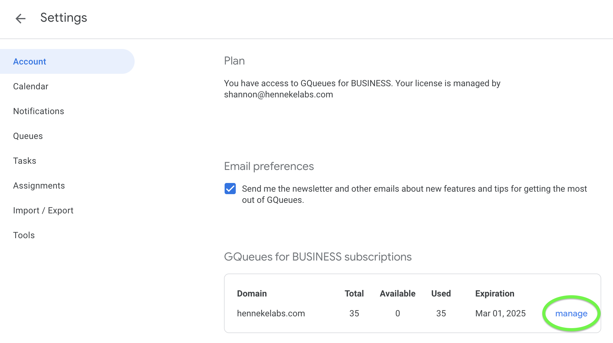 Account tab of GQueues Settings with BUSINESS Subscription Summary