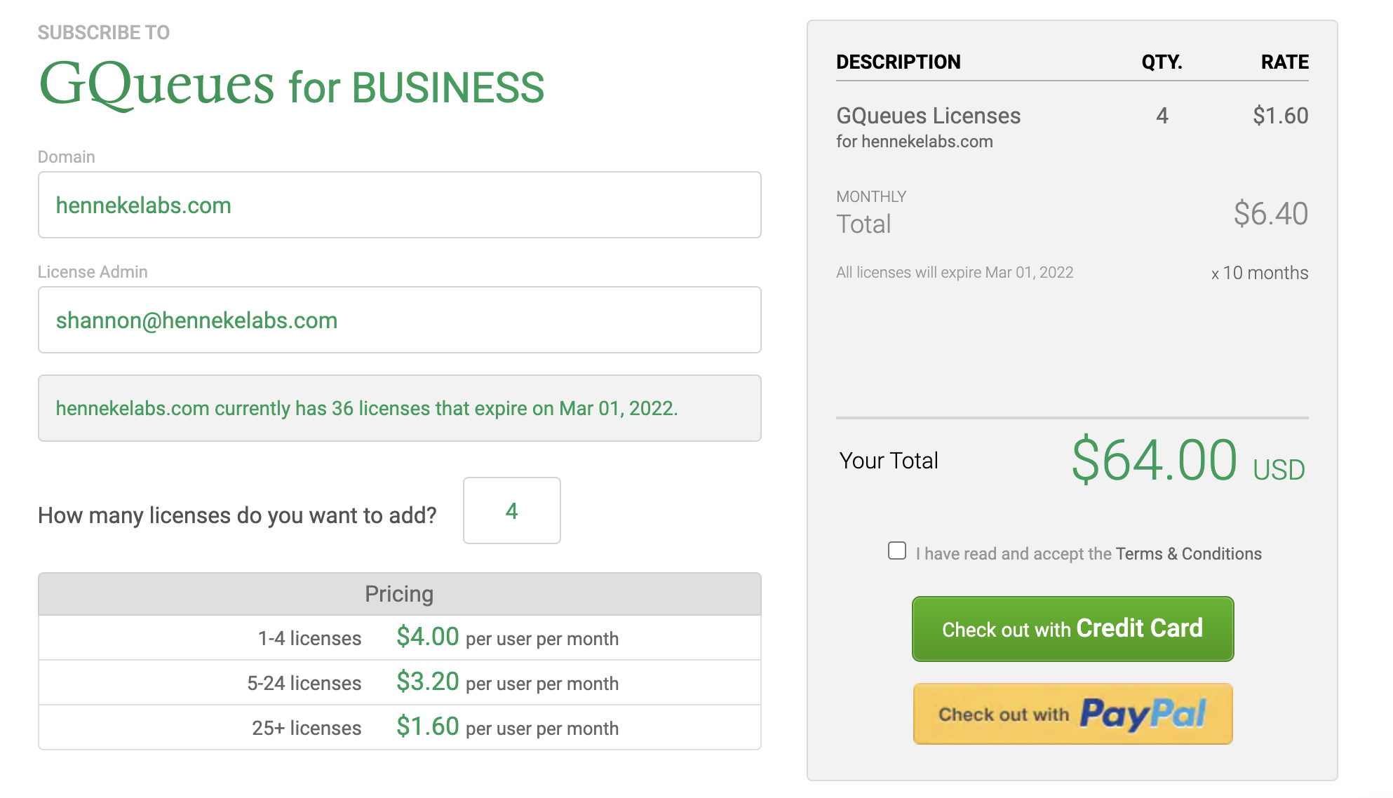 Checkout page to buy more licenses for GQueues for BUSINESS subscription