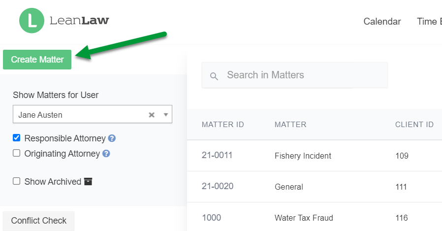 A screenshot of the Matters page with the Create Matter button indicated