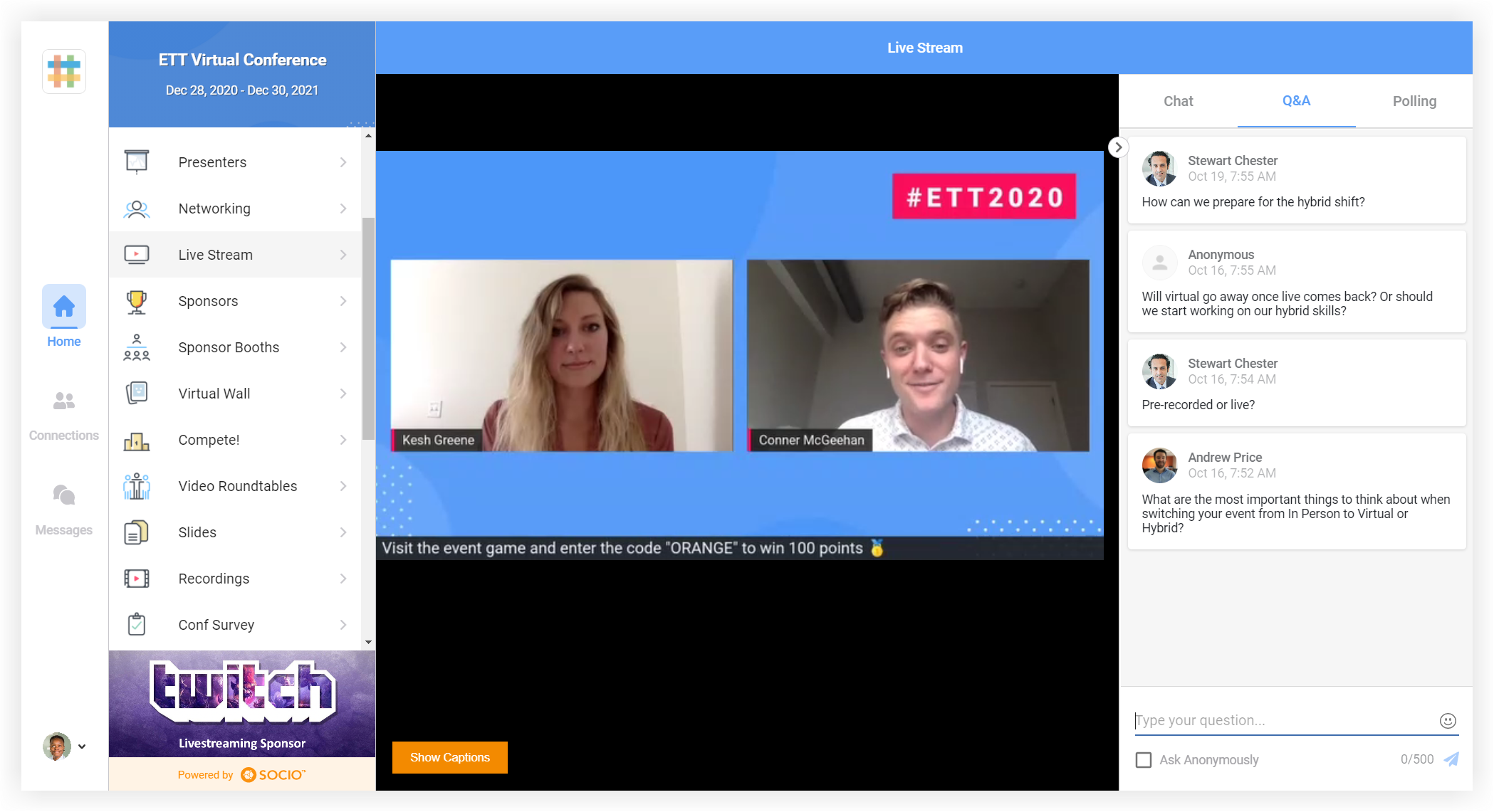 Screenshot of a live stream in the web app. Chat, Q&A, and Polling are enabled.