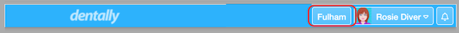 Dentally top menu bar showing location data