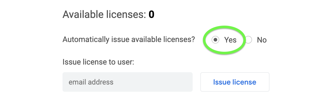 Click yes to have GQueues automatically issue licenses.