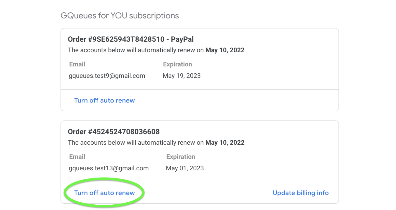 Button to Turn Off Auto Renew for a GQueues for YOU Subscription