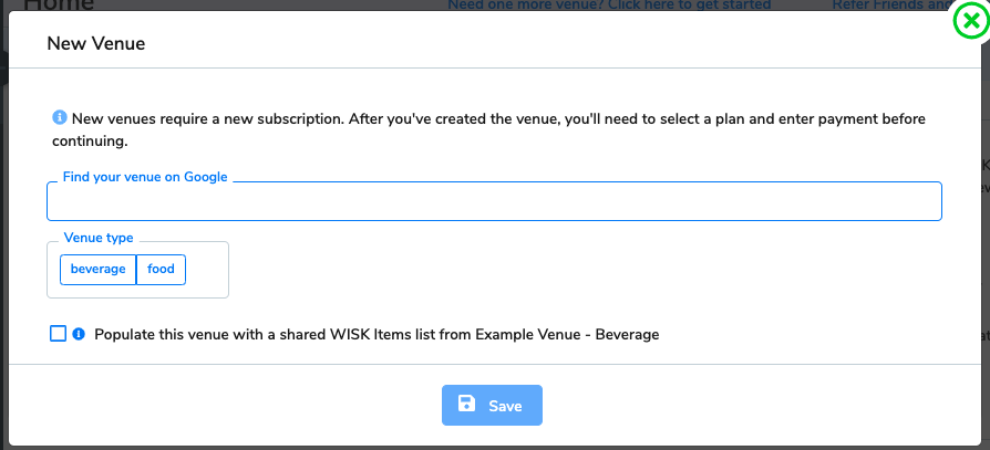 The new venue window appears. You'll type in the name of the venue in the search bar.
