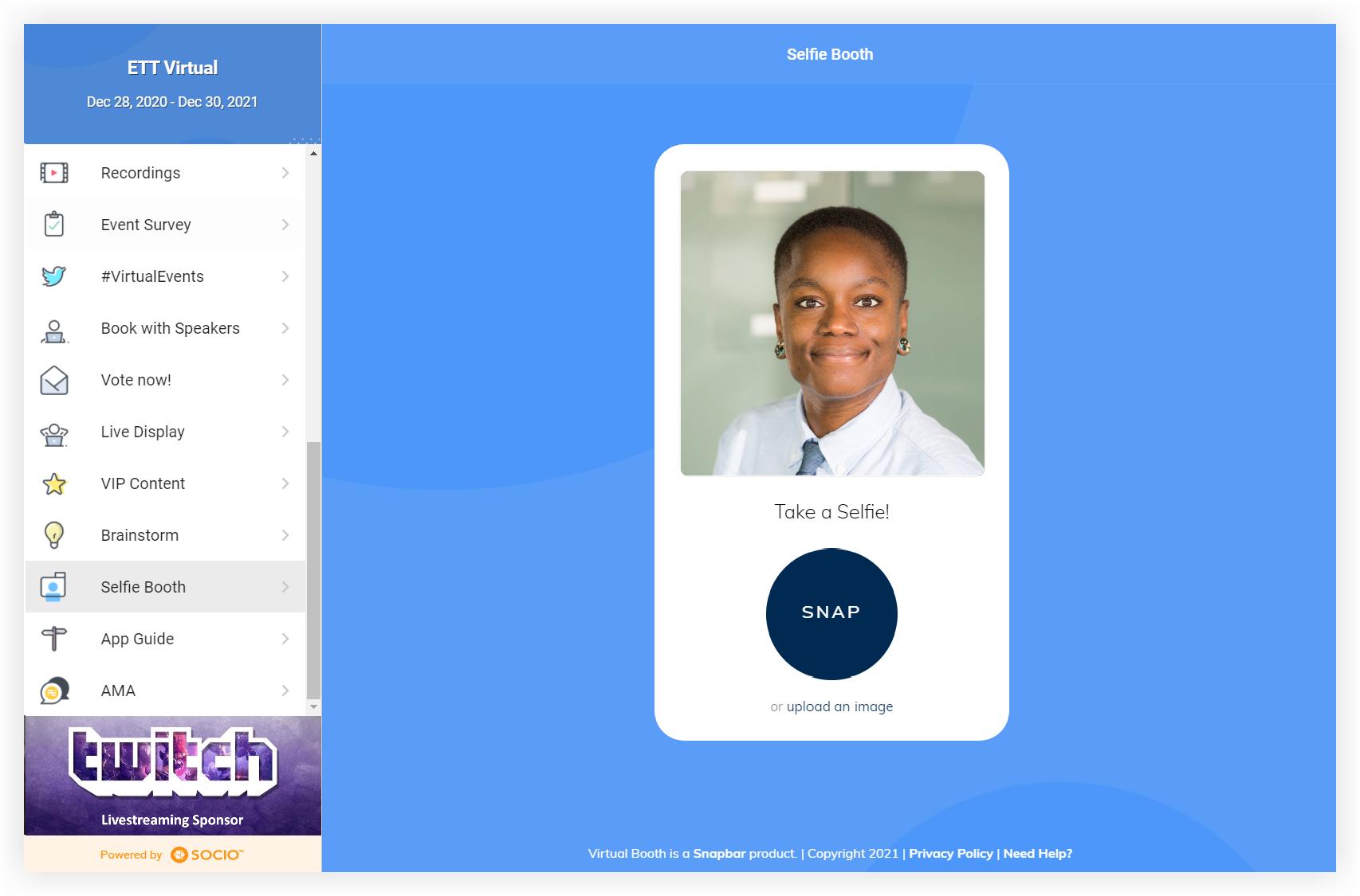 Screenshot of a selfie booth using Snapbar in the web app.