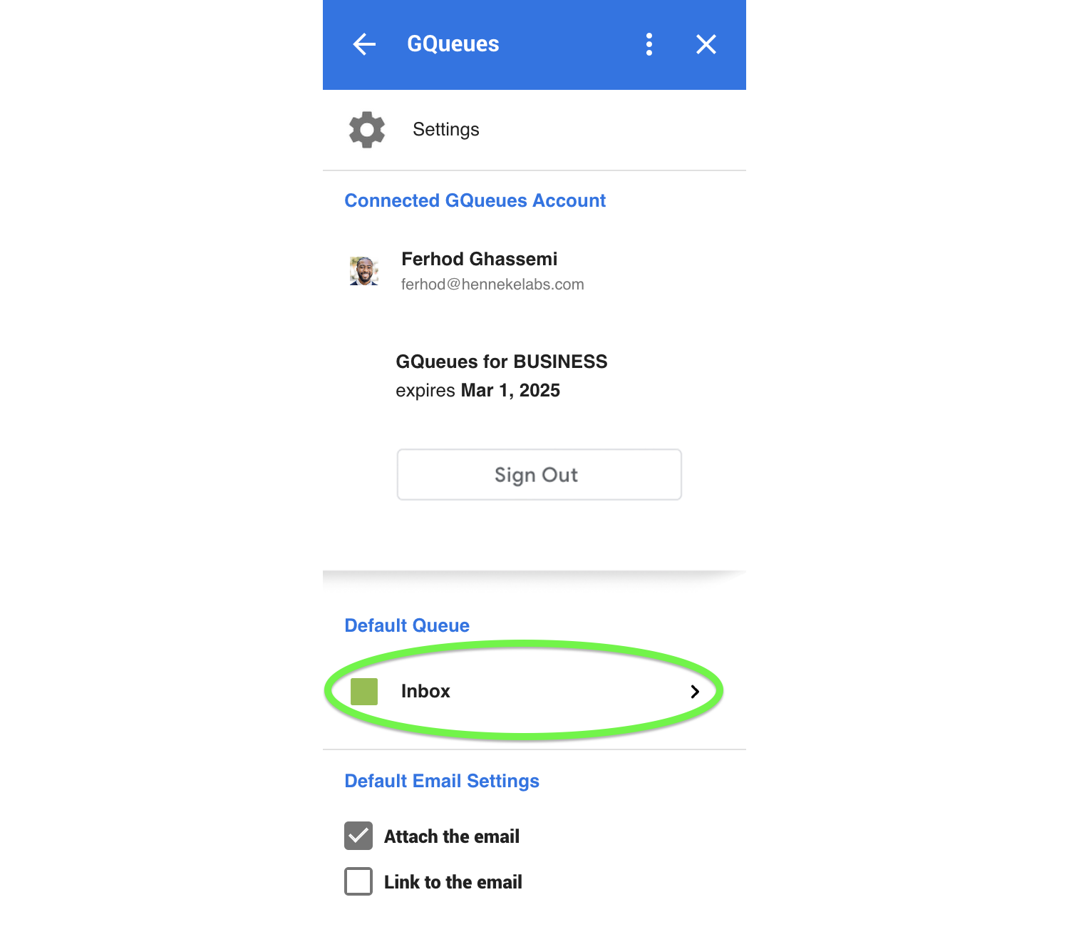 Set the default queue for new tasks to be added in when created from the Google Workspace Add-on