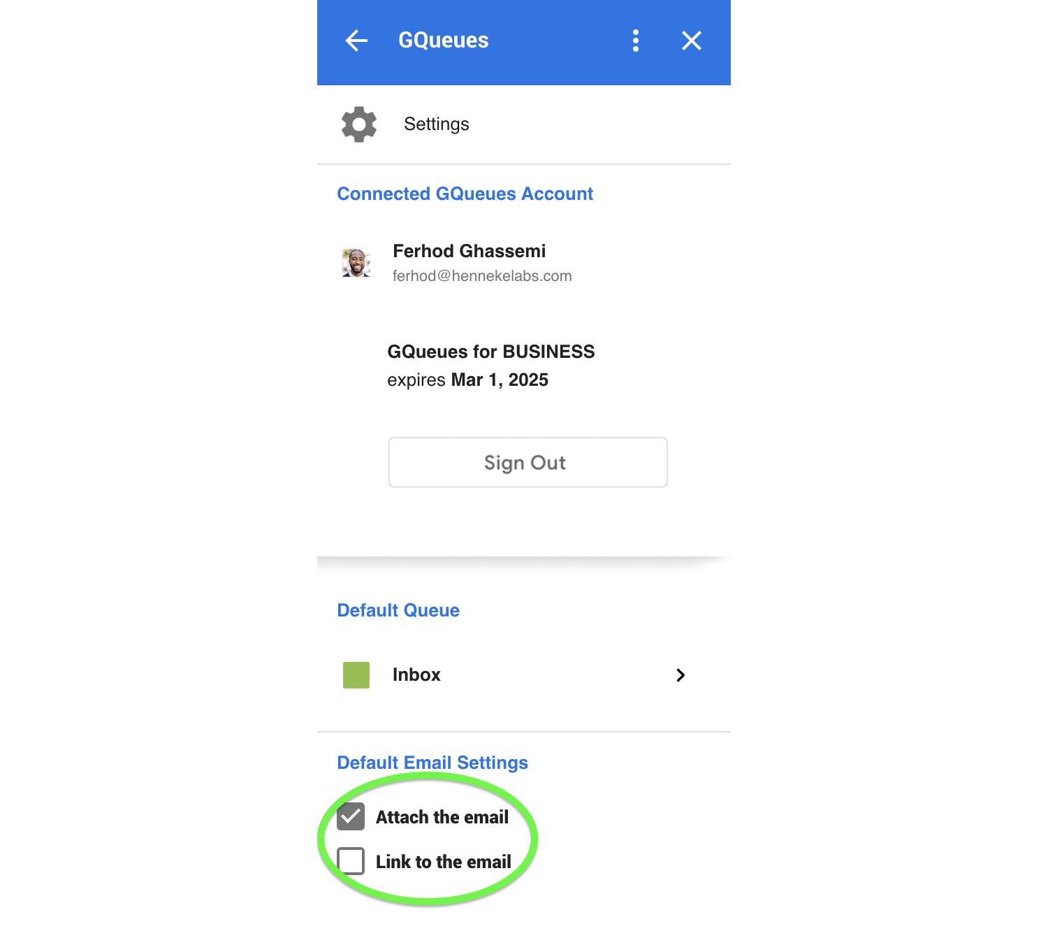 Choose if emails are automatically attached and/or linked to tasks in the Google Workspace Add-on by default