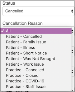 Dentally - Appointment Reason Report - Cancellation Reason
