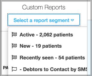 Dentally - Patients Report Custom Reports picker