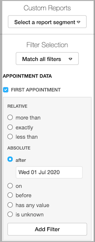 Dentally Patients Report - Appointment filter for new patients
