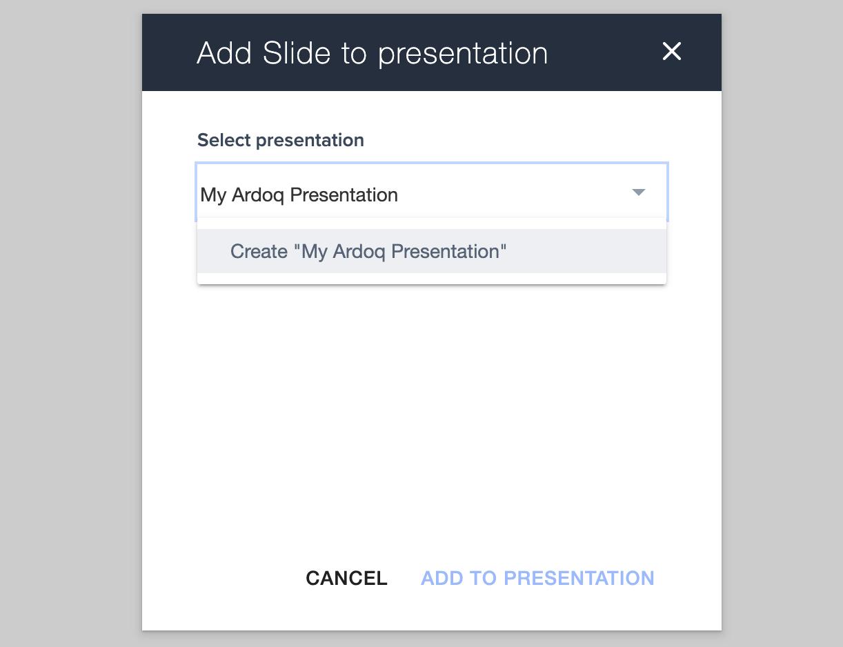 add slide to presentation in Ardoq
