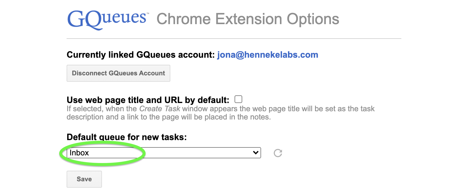 Change the default queue for tasks created from the Chrome Extension.