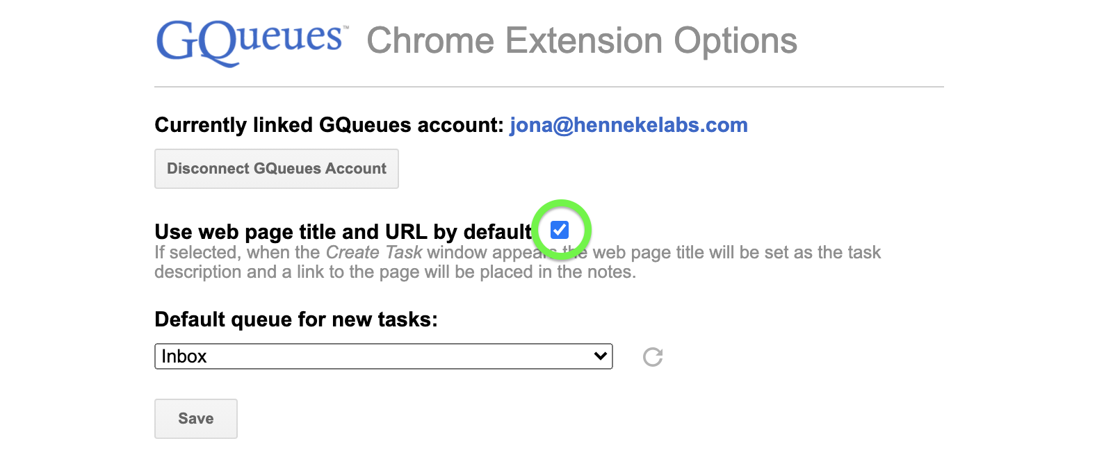 Toggle the setting to use web page title and URL by default.
