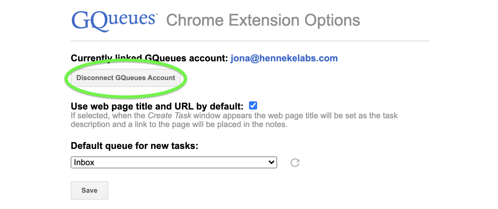 Disconnect your GQueues account from the Chrome Extension.