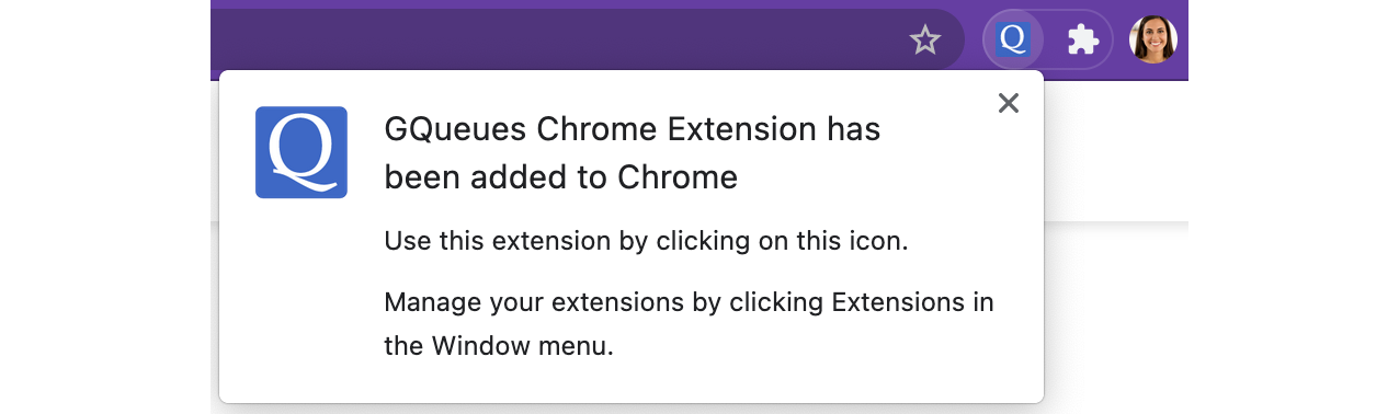 Confirm that the Chrome Extension has been added to your browser.
