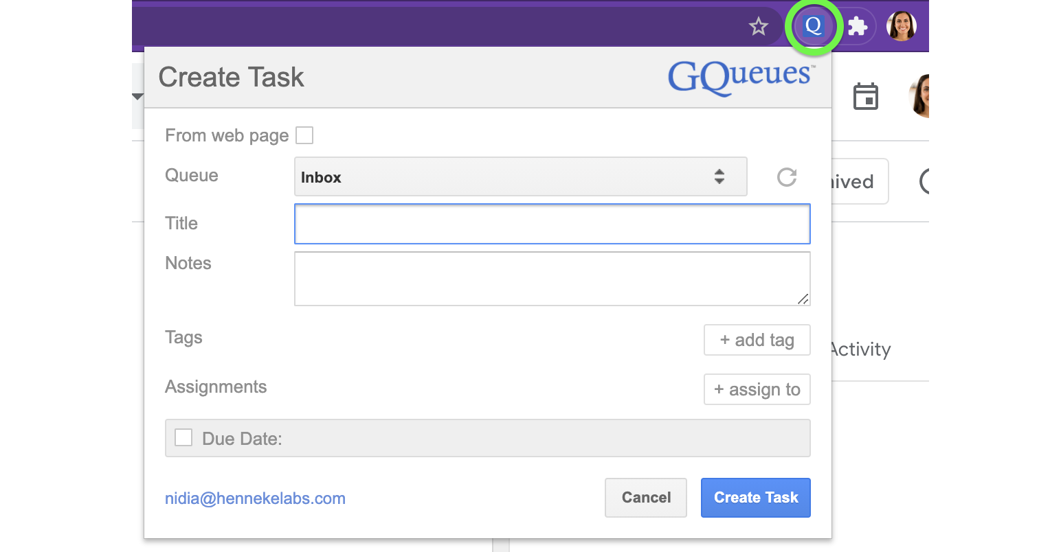 Create a task from the Chrome Extension.
