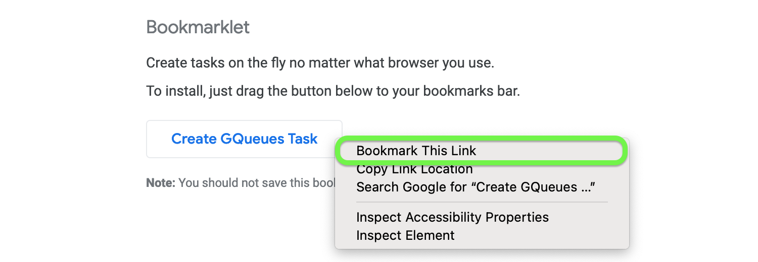 Right click the Bookmarklet tool to add it to your browser.