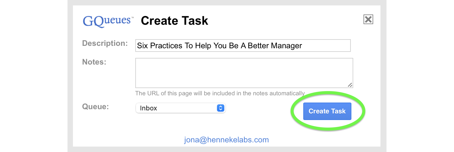 Create a task from the Bookmarklet.