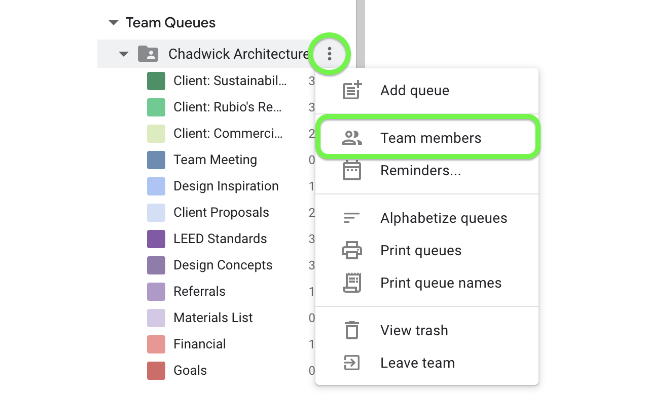 As a member of a team queue, view your team members from the drop down menu.