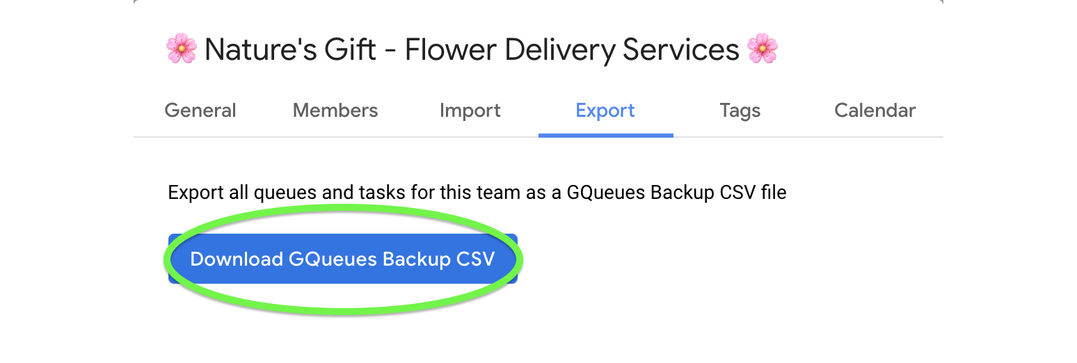 Download the backup CSV file to backup your data.