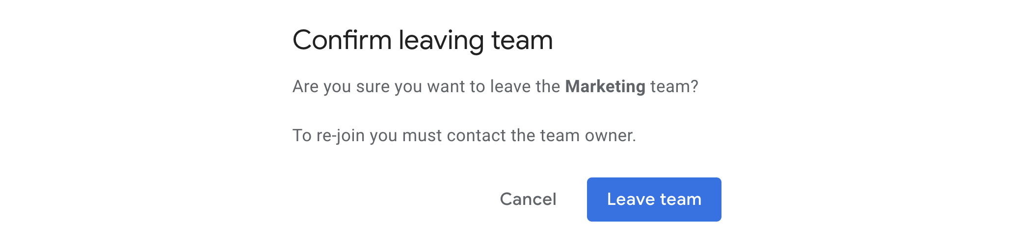Confirm you want to leave the team