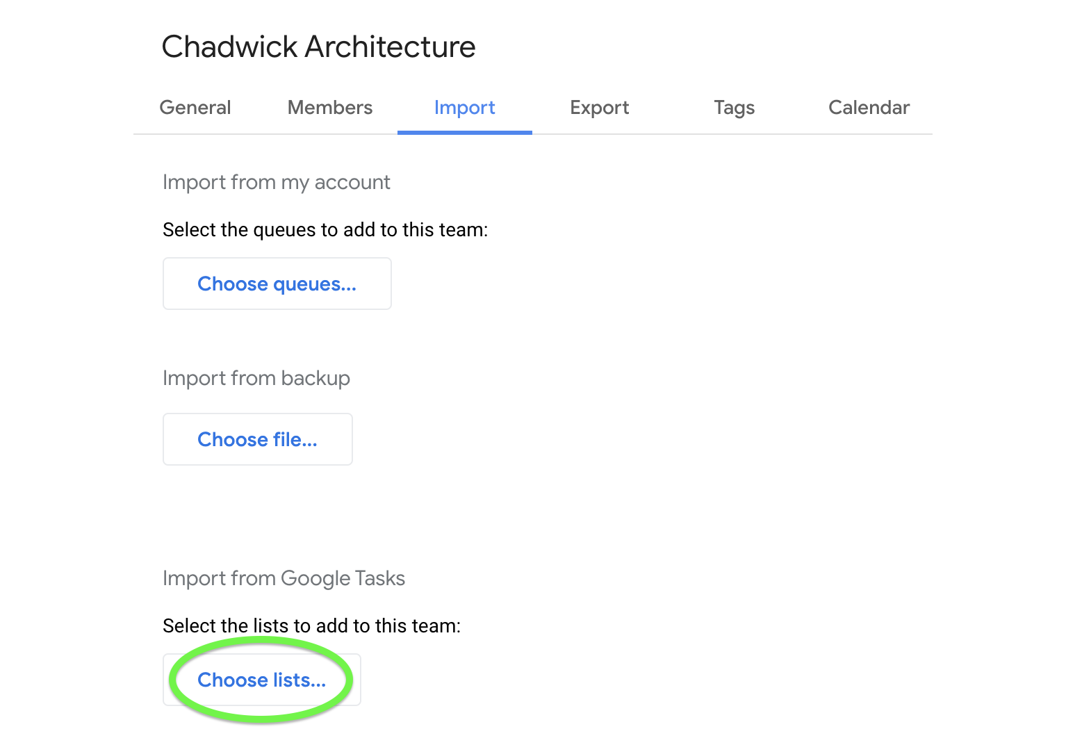 Import from Google Tasks for a one-time migration.