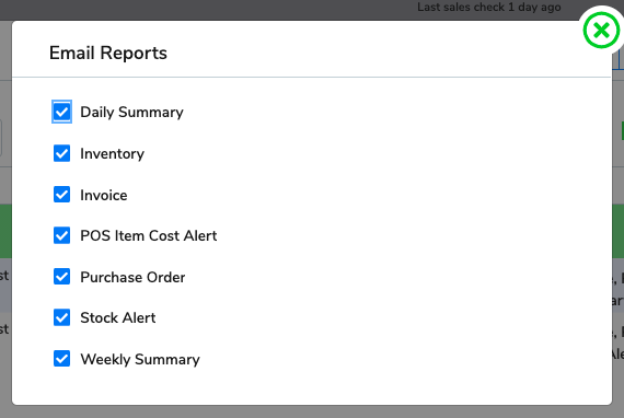 The popup window that shows the reports options, all of the options as indicated above are checked.